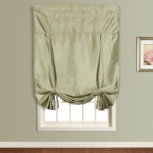 "United Curtain Co. Anna Tie-Up Shade - 40x63"", Faux Silk, Rod Pocket in Sage - Closeouts"