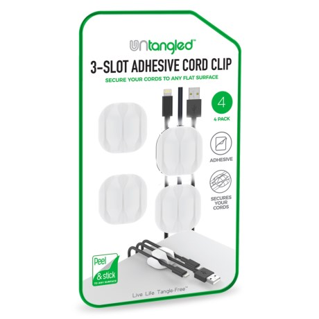 Untangled 3-Slot Adhesive Cord Clip - 4-Pack in White