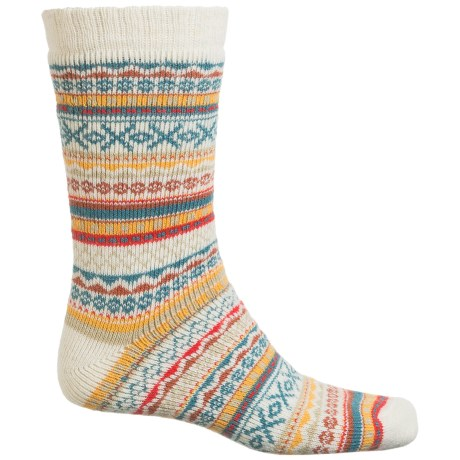 Urban Knits UrbanKnit Fair Isle Boot Socks - Crew (For Men) in Cream