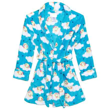 US Angels Plush Smiley Cloud Robe - Long Sleeve (For Little and Big Girls) in Smiley Cloud - Closeouts