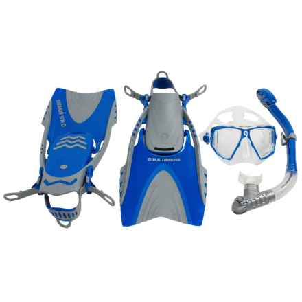 U.S. Divers 3-Piece Dive Set - Lux Mask, Mantis Snorkel, Mystra Fins in Blue - Closeouts