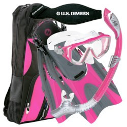 U.S. Divers Diva 1 LX Mask, Snorkel and Fin Combination Set (For Women) in Hot Pink