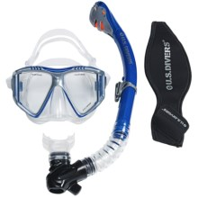U.S. Divers Lux Purge LX Grenada Mask and Snorkel Combo (For Men and Women) in Electric Blue - Closeouts