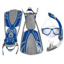 U.S. Divers LX Mask, Snorkel and Fins Combination Set in Blue/Grey - Closeouts