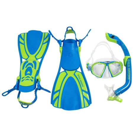 U.S. Divers Zip LX Mask, Snorkel and Fins Combination Set (For Kids) in Aqua Blue/Lime Green