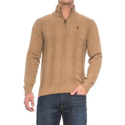 U.S. Polo Assn. Cable-Knit Sweater - Zip Neck (For Men) in Alpaca Heather - Closeouts