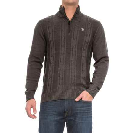 U.S. Polo Assn. Cable-Knit Sweater - Zip Neck (For Men) in Charcoal Heather - Closeouts