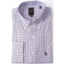 U.S. Polo Assn. Check Dress Shirt - Long Sleeve (For Men) in White/Blue/Orange - Closeouts