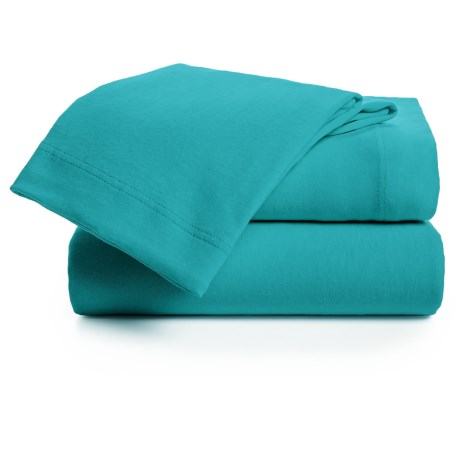 U.S. Polo Assn. Cotton Jersey Sheet Set - Queen in Turquoise