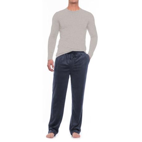 U.S. Polo Assn. Jersey and Silky Fleece Pajamas - Long Sleeve (For Men) in Navy / Htr Grey