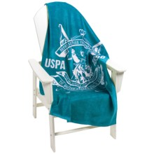 "U.S. Polo Assn. Palm Spring Crest Beach Towel - 30x60"" in Turquoise - Closeouts"