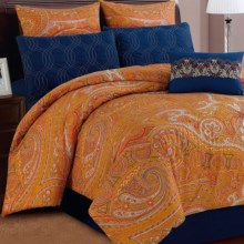 U.S. Polo Assn. Shanti Paisley Bedding Set - Queen, 7-Piece in Orange/Blue - Closeouts