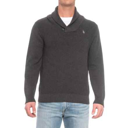 U.S. Polo Assn. Shawl Collar Sweater (For Men) in Charcoal Heather - Closeouts