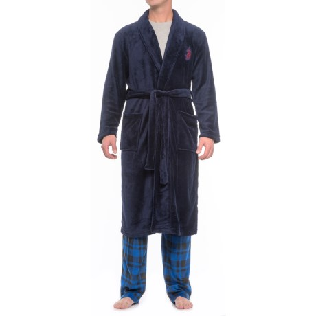 Image of U.S. Polo Assn. Solid Plush Robe - Long Sleeve (For Men and Women)