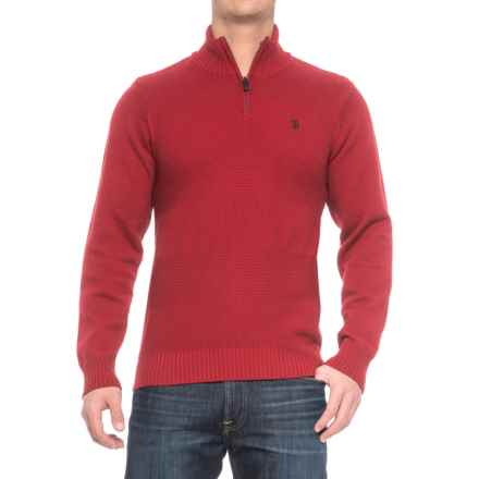 U.S. Polo Assn. Texture Stripe Sweater - Zip Neck (For Men) in Apple Cinnamon - Closeouts