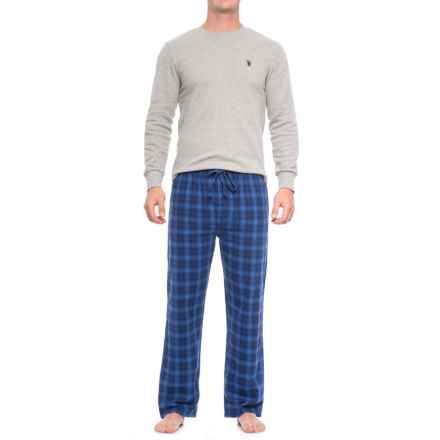 U.S. Polo Assn. Thermal Pajamas - Long Sleeve (For Men) in Heather Grey/Blue Print - Closeouts
