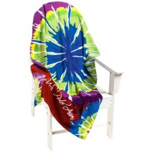 "U.S. Polo Assn. Tie-Dye Burst Beach Towel - 34x64"" in Tangerine Tango - Closeouts"
