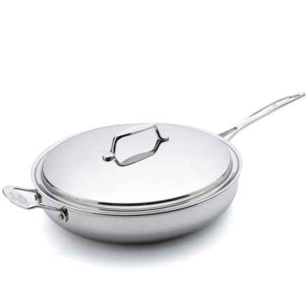 """USA Pan Gourmet Chef Skillet with Cover - 13"""" in Stainless Steel - Overstock"""