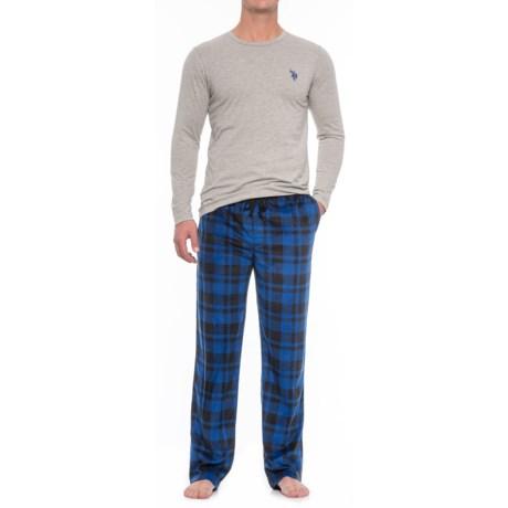 USPA U.S. Polo Assn. Jersey and Fleece Pajamas - Long Sleeve (For Men) in Heather Grey/Surf Web