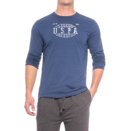 USPA U.S. Polo Assn. Jersey Pajamas - Long Sleeve (For Men) in Blue Print / Charcoal