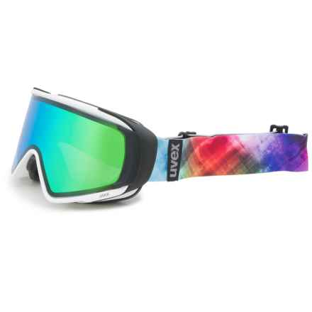 uvex JAKK TO Ski Goggles in White Matte/Lite Mirror Green - Closeouts