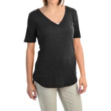V-Neck Burnout Shirt - Cotton-Modal Blend, Short Sleeve (For Women) in Black - 2nds