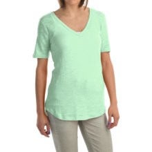 V-Neck Burnout Shirt - Cotton-Modal Blend, Short Sleeve (For Women) in Green - 2nds