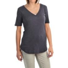 V-Neck Burnout Shirt - Cotton-Modal Blend, Short Sleeve (For Women) in Grey - 2nds