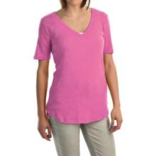 V-Neck Burnout Shirt - Cotton-Modal Blend, Short Sleeve (For Women) in Pink - 2nds
