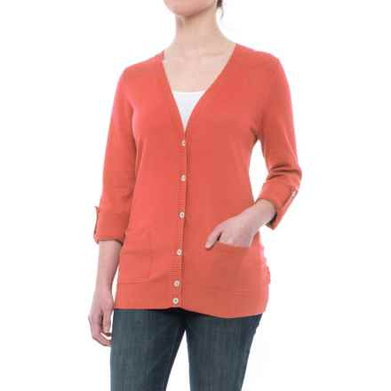 V-Neck Cardigan Sweater (For Women) in Salmon - Closeouts