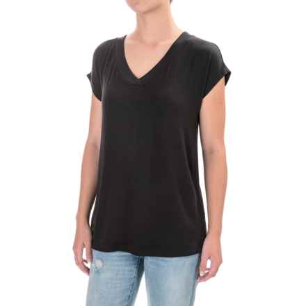 V-Neck Dolman Shirt - Rayon, Short Sleeve (For Women) in Black - Closeouts