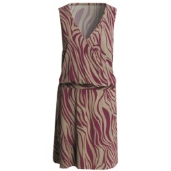 V-Neck Dress - Sleeveless (For Women) in Wine Zebra Print
