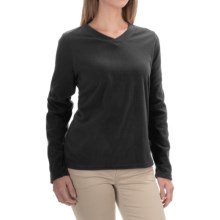 V-Neck Fleece Shirt - Long Sleeve (For Women) in Black - 2nds