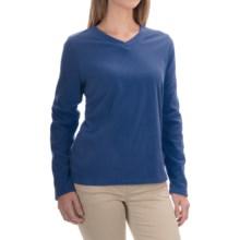 V-Neck Fleece Shirt - Long Sleeve (For Women) in Blue - 2nds