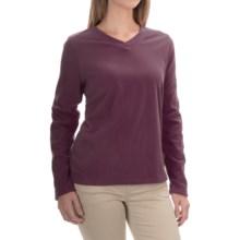 V-Neck Fleece Shirt - Long Sleeve (For Women) in Maroon - 2nds