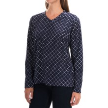 V-Neck Fleece Shirt - Long Sleeve (For Women) in Navy/White Dots - 2nds
