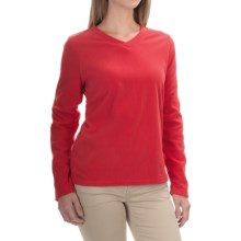 V-Neck Fleece Shirt - Long Sleeve (For Women) in Red - 2nds