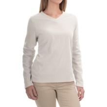 V-Neck Fleece Shirt - Long Sleeve (For Women) in White - 2nds