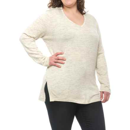 V-Neck Heathered Shirt - Long Sleeve (For Women) in Ivory - 2nds