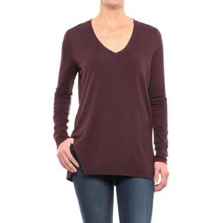 V-Neck Knit Shirt - Long Sleeve (For Women) in Plum - 2nds