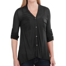 V-Neck Modal Knit Shirt - 2-Pocket, Roll-Up Long Sleeve (For Women) in Black - 2nds