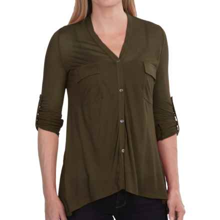V-Neck Modal Knit Shirt - 2-Pocket, Roll-Up Long Sleeve (For Women) in Olive - 2nds