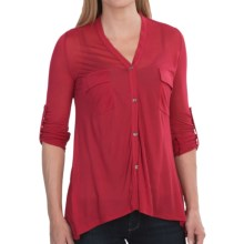 V-Neck Modal Knit Shirt - 2-Pocket, Roll-Up Long Sleeve (For Women) in Red - 2nds