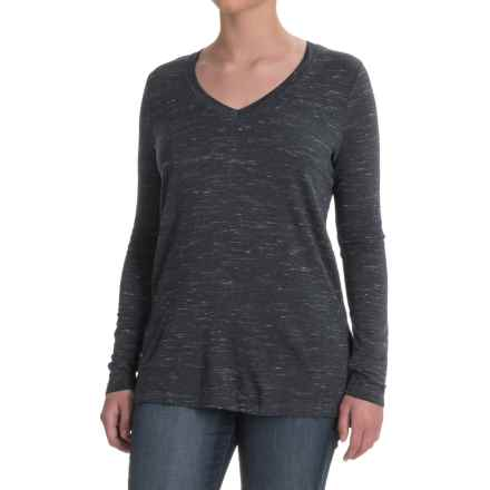 V-Neck Stretch Tunic Shirt - Rayon, Long Sleeve (For Women) in Navy/White Heather - 2nds