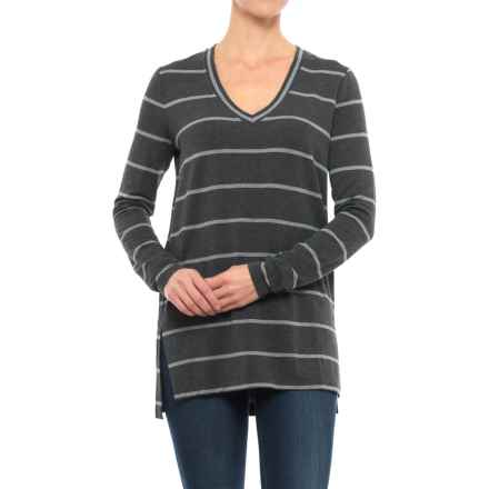 V-Neck Striped Shirt - Long Sleeve (For Women) in Charcoal Stripe - 2nds