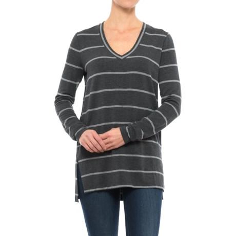 V-Neck Striped Shirt - Long Sleeve (For Women) in Charcoal Stripe