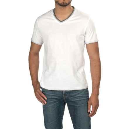 V-Neck T-Shirt - Short Sleeve (For Men) in White/Grey - 2nds