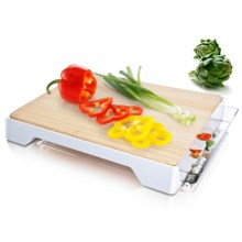 Vacu Vin Bamboo Cutting Board - Slide-Out Scrap Drawer in White - Closeouts