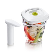 Vacu Vin Instant Pickler Set - 44 oz. Container, Vacuum pump in White - Closeouts