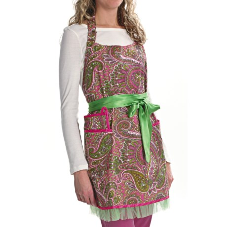 Valcooks! Designer Hostess Apron and Potholder Set in Green/Pink Paisley